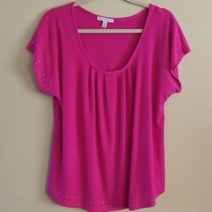Notations hot pink studded blouse NWOT